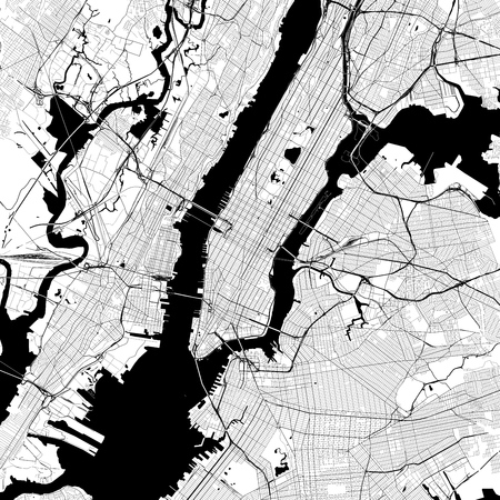 New York City Monochrome Vector Map. Very large and detailed outline Version on White Background. Black Highways and Railroads, Grey Streets, Blue Water.