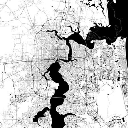 Jacksonville Monochrome Vector Map. Illustration