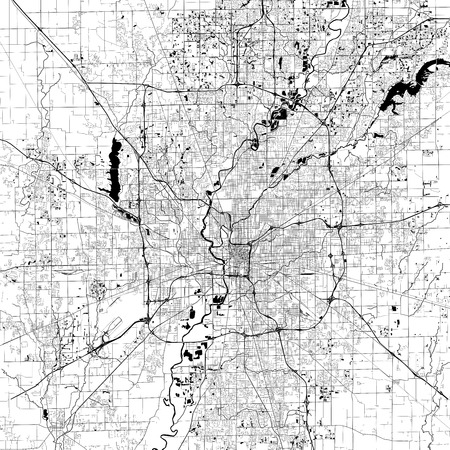Indianapolis Monochrome Vector Map. Very large and detailed outline Version on White Background. Black Highways and Railroads, Grey Streets, Blue Water.