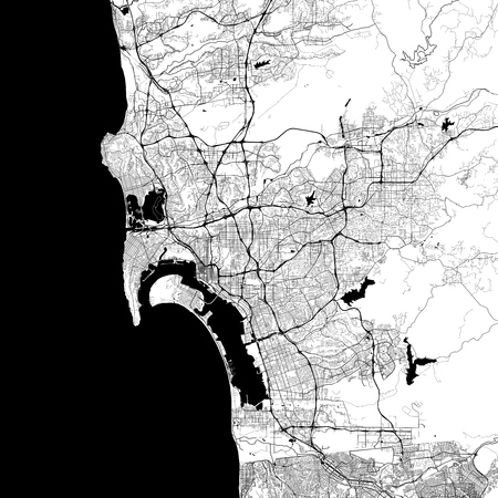 San Diego Monochrome Vector Map. Very large and detailed outline Version on White Background. Black Highways and Railroads, Grey Streets, Blue Water.