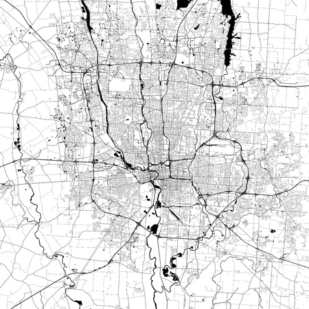 Columbus Monochrome Vector Map. Very large and detailed outline Version on White Background. Black Highways and Railroads, Grey Streets, Blue Water. Illustration