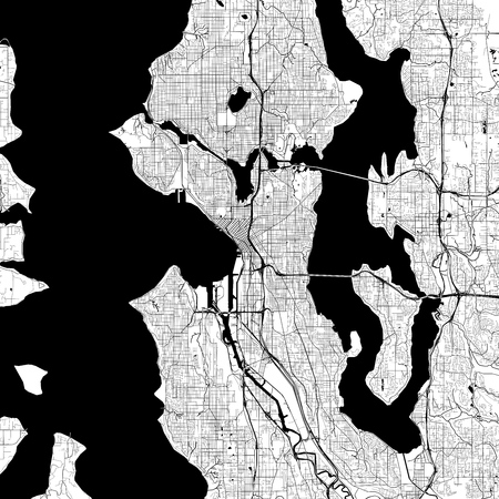 Seattle Monochrome Vector Map. Very large and detailed outline Version on White Background. Black Highways and Railroads, Grey Streets, Blue Water.