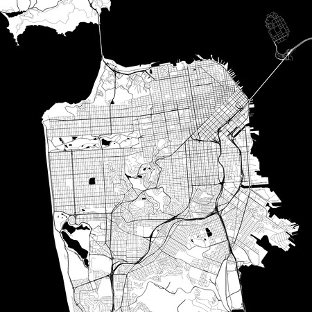 San Francisco Monochrome Vector Map. Very large and detailed outline Version on White Background. Black Highways and Railroads, Grey Streets, Blue Water.