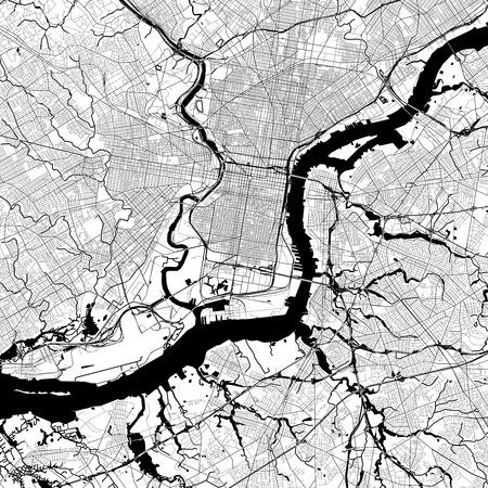 필라델피아 단색 벡터지도입니다. 흰색 배경에 매우 크고 상세한 개요 버전입니다. 검은 고속도로와 철도, 회색 도로, 푸른 물.