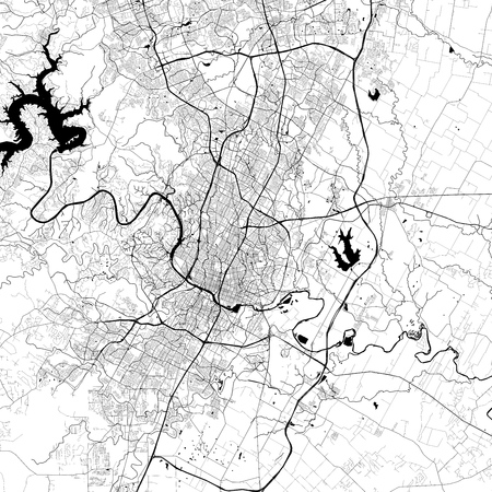 Austin Monochrome Vector Map. Very large and detailed outline Version on White Background. Black Highways and Railroads, Grey Streets, Blue Water.