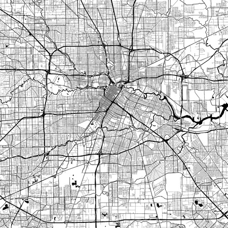 Houston Monochrome Vector Map. Very large and detailed outline Version on White Background. Black Highways and Railroads, Grey Streets, Blue Water. 向量圖像