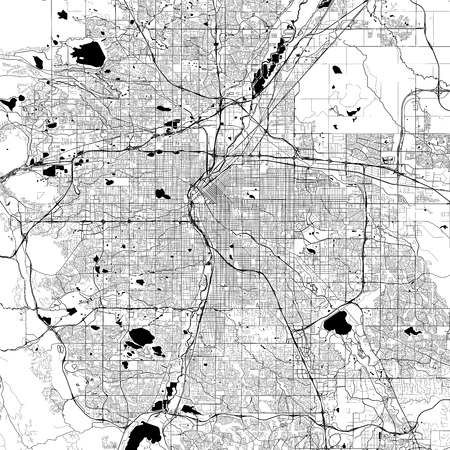 Denver Monochrome Vector Map. Very large and detailed outline Version on White Background. Black Highways and Railroads, Grey Streets, Blue Water. Illustration