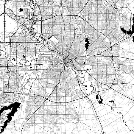 Dallas Monochrome Vector Map. Very large and detailed outline Version on White Background. Black Highways and Railroads, Grey Streets, Blue Water.