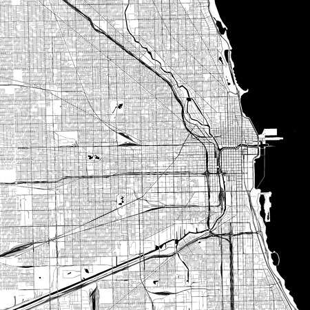 Chicago Monochrome Vector Map. Very large and detailed outline Version on White Background. Black Highways and Railroads, Grey Streets, Blue Water.