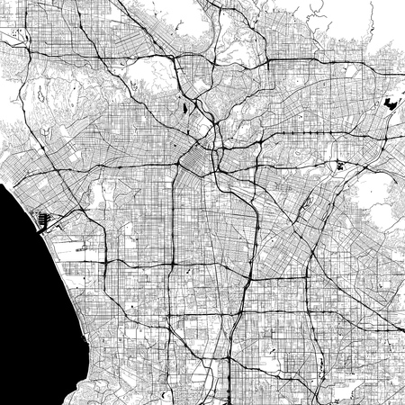 Los Angeles Monochrome Vector Map. Very large and detailed outline Version on White Background. Black Highways and Railroads, Grey Streets, Blue Water. Illustration
