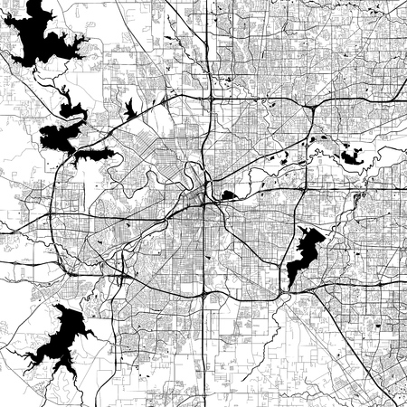 Fort Worth Monochrome Vector Map. Very large and detailed outline Version on White Background. Black Highways and Railroads, Grey Streets, Blue Water. Illustration