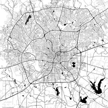 샌 안토니오 단색 벡터지도입니다. 흰색 배경에 매우 크고 상세한 개요 버전입니다. 검은 고속도로와 철도, 회색 도로, 푸른 물.
