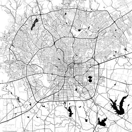 San Antonio Monochrome Vector Map. Very large and detailed outline Version on White Background. Black Highways and Railroads, Grey Streets, Blue Water.