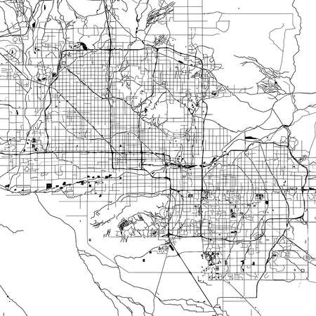 Phoenix Monochrome Vector Map. Very large and detailed outline Version on White Background. Black Highways and Railroads, Grey Streets, Blue Water.