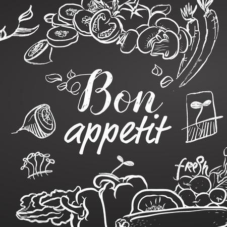 Bon Appetit Chalk Sketch op Blackboard, zwart en wit. Hand getrokken illustratie. Zwart en wit, letters