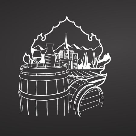 Wine on barrels. Chalk on blackboard. Hand drawn vineyard landscape. Countryside scenery. Black and White. Vintage style vector illustration. Illustration