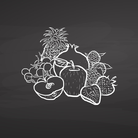 Hand drawn fruits on chalkboard. Hand drawn healthy food sketch. Black and White Vector Drawing on Blackboard.