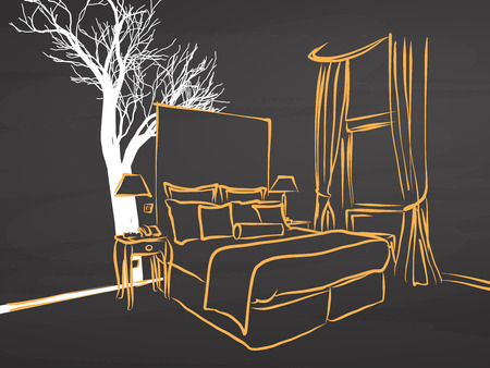 twin bed: King Size Appartment Sketch on Chalkboard, handdrawn vector sketch, clean outlines, vintage style blackboard.