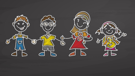 Teacher and Kids drawing on chalkboard, handdrawn vector sketch, clean outlines, vintage style blackboard.
