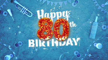 Happy 80th Birthday Card with beautiful details such as wine bottle, champagne glasses, garland, pennant, stars and confetti. Blue background, red and yellow figures from luminaries in the foreground. Sprayed typography. 3D design for printed cards and so 스톡 콘텐츠