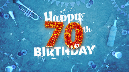 Happy 70th Birthday Card with beautiful details such as wine bottle, champagne glasses, garland, pennant, stars and confetti. Blue background, red and yellow figures from luminaries in the foreground. Sprayed typography. 3D design for printed cards and so