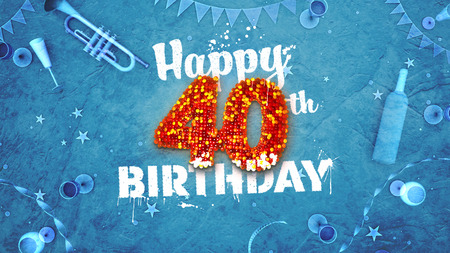 details: Happy 40th Birthday Card with beautiful details such as wine bottle, champagne glasses, garland, pennant, stars and confetti. Blue background, red and yellow figures from luminaries in the foreground. Sprayed typography. 3D design for printed cards and so Stock Photo