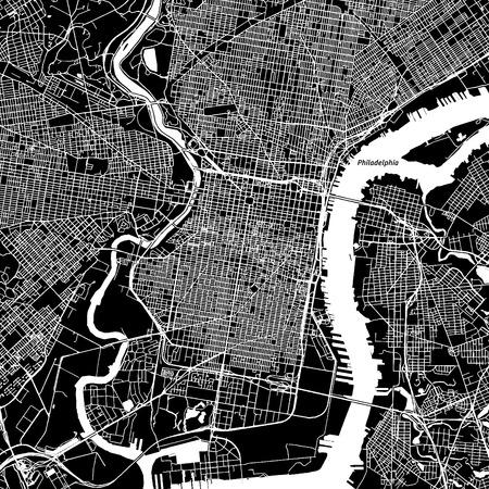 フィラデルフィア、ペンシルバニア州。ダウンタウンのベクター マップ。別のレイヤーに都市名。アート印刷テンプレート。黒と白。