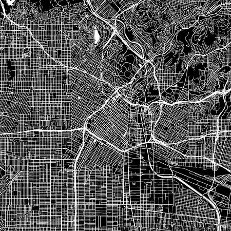 Los Angeles, Californie. Carte vectorielle du centre-ville. Nom de la ville sur un calque séparé. Modèle d'impression d'art. Noir et blanc.