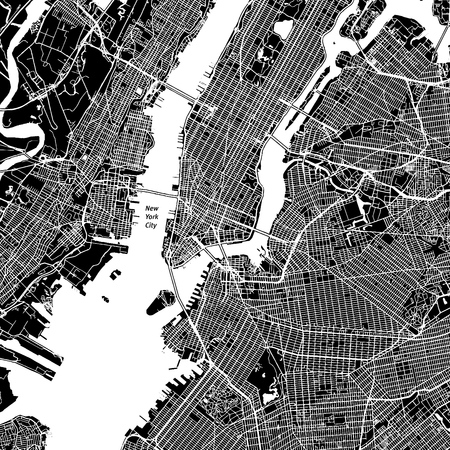 New York City, New York. Downtown vector map. City name on a separate layer. Art print template. Black and white.