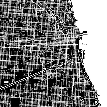 Chicago, Illinois. Downtown vector map. City name on a separate layer. Art print template. Black and white.