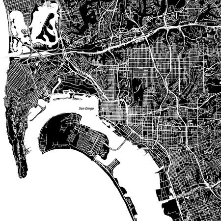 サンディエゴ、カリフォルニア州。ダウンタウンのベクター マップ。別のレイヤーに都市名。アート印刷テンプレート。黒と白。