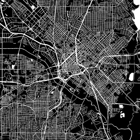 Dallas, Texas. Downtown vector map. City name on a separate layer. Art print template. Black and white. Illustration