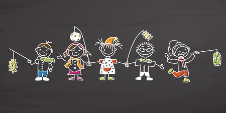 Los niños celebran el Día de San Martín, bosquejo de vectores dibujados a mano, contornos limpios, pizarra de estilo vintage. Foto de archivo - 86634874