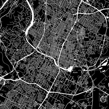 テキサス州オースティンダウンタウンベクトルマップ。別のレイヤー上の都市名。アート印刷テンプレート。黒と白 写真素材 - 86748423