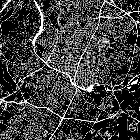 Austin, Texas. Downtown vector map. City name on a separate layer. Art print template. Black and white.