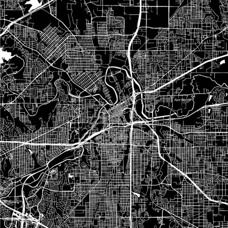 Fort Worth, Texas. Downtown vector map. City name on a separate layer. Art print template. Black and white. Vettoriali