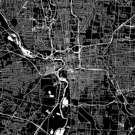 コロンバス、オハイオ州。ダウンタウンのベクター マップ。別のレイヤーに都市名。アート印刷テンプレート。黒と白。