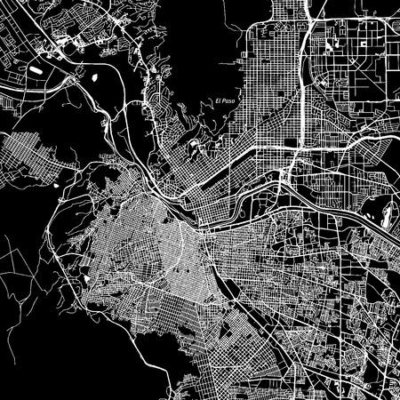 El Paso, Texas. Downtown vector kaart. Plaatsnaam op een aparte laag. Art print template. Zwart en wit. Stock Illustratie