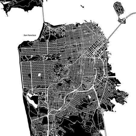 샌프란시스코, 캘리포니아. 시내 벡터지도입니다. 별도 레이어에 도시 이름입니다. 아트 인쇄 템플릿. 검정색과 흰색.