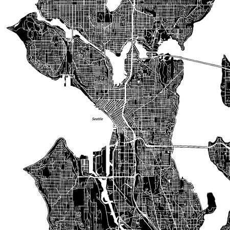 シアトル、ワシントン州。ダウンタウンのベクター マップ。別のレイヤーに都市名。アート印刷テンプレート。黒と白。