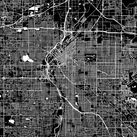 デンバー、コロラド州。ダウンタウンのベクター マップ。別のレイヤーに都市名。アート印刷テンプレート。黒と白。