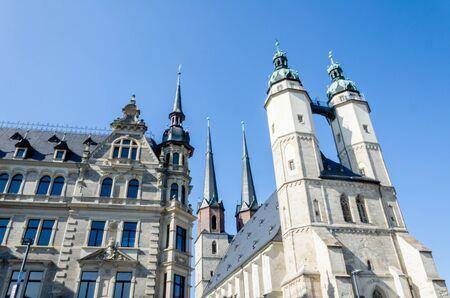 Halle Saale, Marktkerk en Oud Huis, Saksen Anhalt, Duitsland.