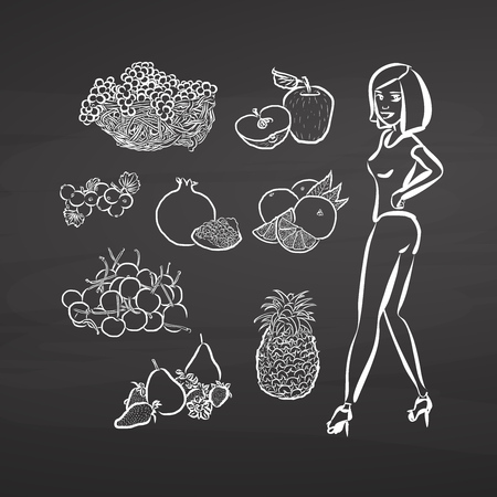Young woman and fruits on chalkboard. Hand drawn healthy food sketch. Black and White Vector Drawing on Blackboard.