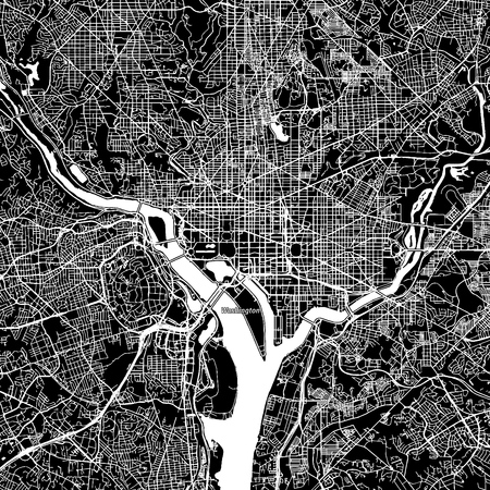 Washington, District of Columbia. Downtown vector map. City name on a separate layer. Art print template. Black and white.