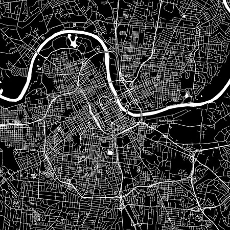 Nashville, Tennessee. Downtown vector map. City name on a separate layer. Art print template. Black and white. 向量圖像