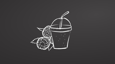 Raspberry smoothie. Chalk on chalkboar. Hand drawn healthy food sketch. Black and White Vector Drawing on Blackboard.
