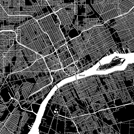 Detroit, Michigan. Downtown vector map. City name on a separate layer. Art print template. Black and white.