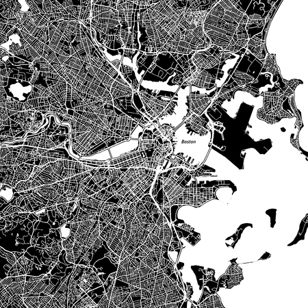 Boston, Massachusetts. Downtown vector map. 矢量图像