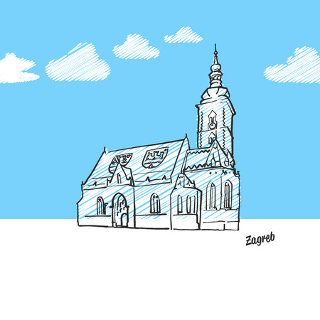 Zagreb, Croatia famous landmark sketch. Lineart drawing by hand. Greeting card icon with title, vector illustration