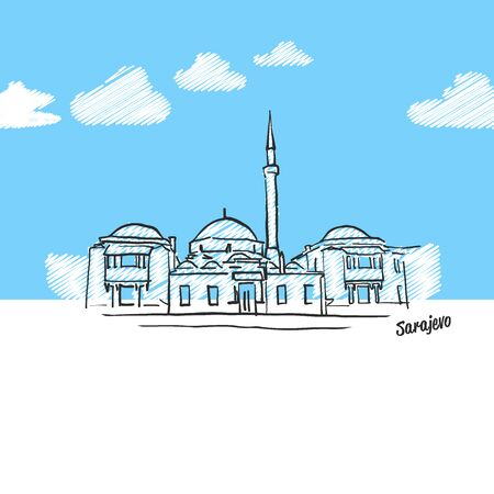 Sarajevo famous landmark sketch. Lineart drawing by hand. Greeting card icon with title, vector illustration